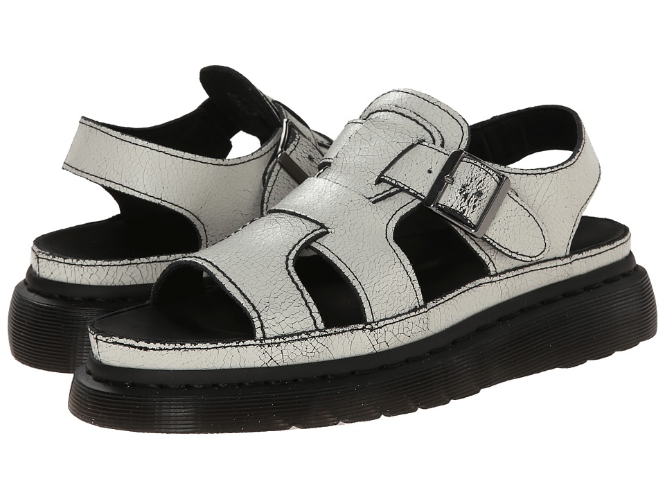Dr. Martens - Asha Double Tongue Sandal (White/Black/Cristal Suede) Women's Sandals