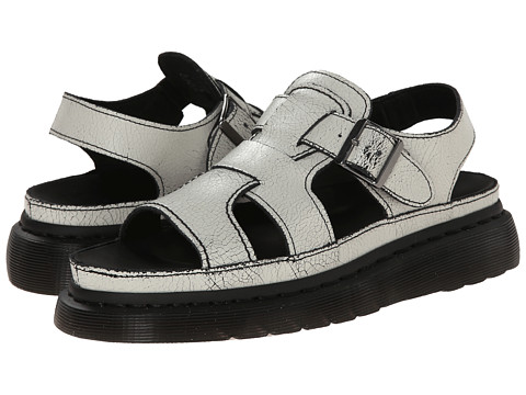 Dr. Martens - Asha Double Tongue Sandal (White/Black/Cristal Suede) Women