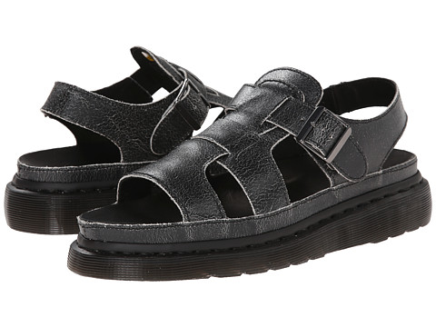 Dr. Martens - Asha Double Tongue Sandal (Black/White/Cristal Suede) Women's Sandals