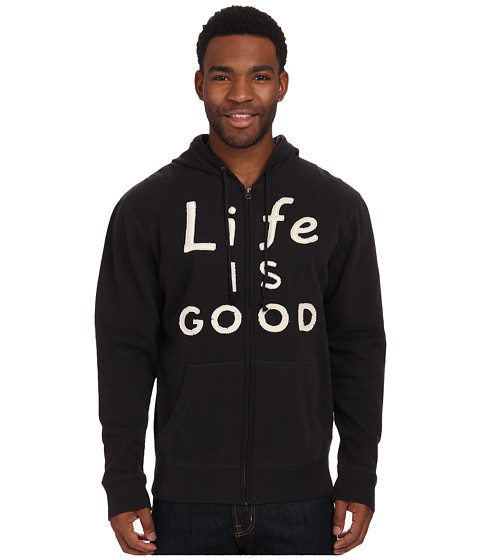 Life is good - All Good Zip Hoodie (Night Black) Men's Sweatshirt