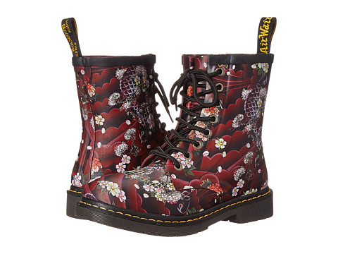 Dr. Martens - Drench 8-Eye Boot (Cherry Red Tattoo Floral/Vulcanised Rubber) Women