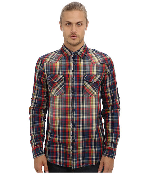 Fresh Brand - Double Layered Shirt w/ Fade Wash Detail (Navy) Men's Long Sleeve Button Up