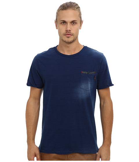 Fresh Brand - Fade Effect Tee (Indigo) Men's Short Sleeve Pullover