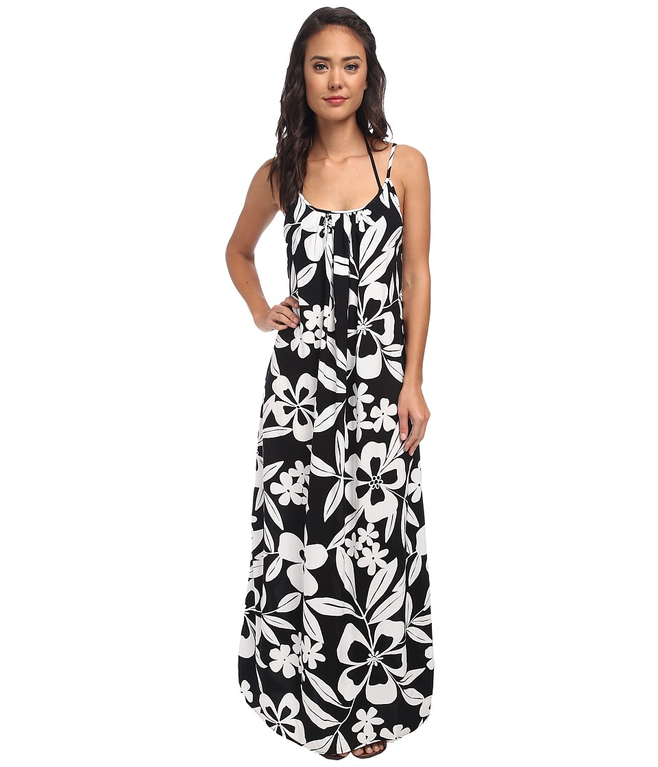 Tommy Bahama - Hawaii Floral Spaghetti Strap Long Beach Dress Cover-Up (Black/White) Women
