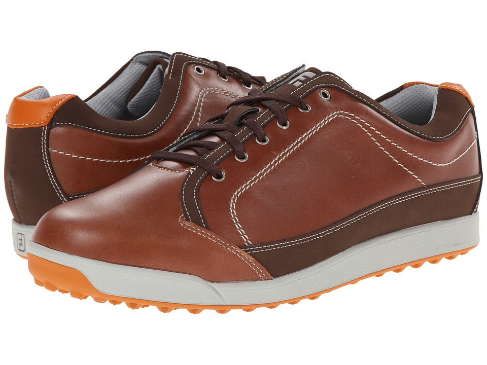FootJoy - Contour Casual (Brown/Orange Trim) Men's Golf Shoes
