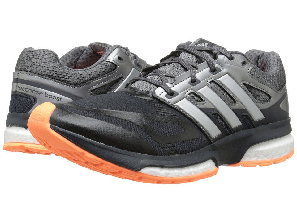 adidas Running - Response Boost Techfit (Dark Grey/Silver Metallic/Flash Orange) Women