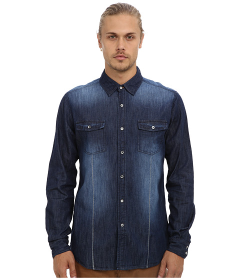 Fresh Brand - Fade Washed Chambray Shirt (Indigo) Men's Long Sleeve Button Up