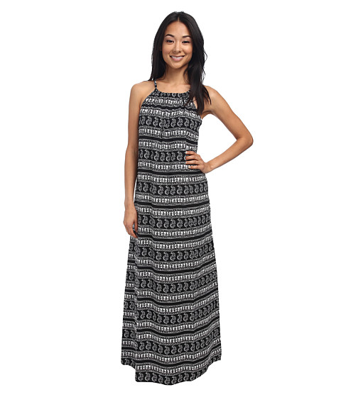 Tommy Bahama - Paisley Floral Stripe High Neck Long Beach Dress Cover-Up (Black/Cave Multi) Women's Swimwear