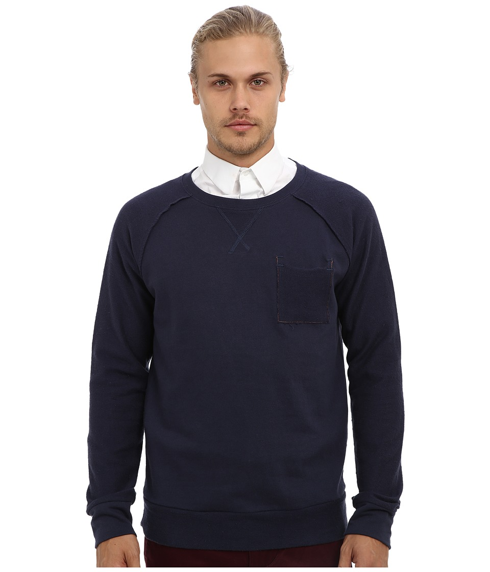 Fresh Brand - Cotton French Terry Raglan Top (Indigo) Men