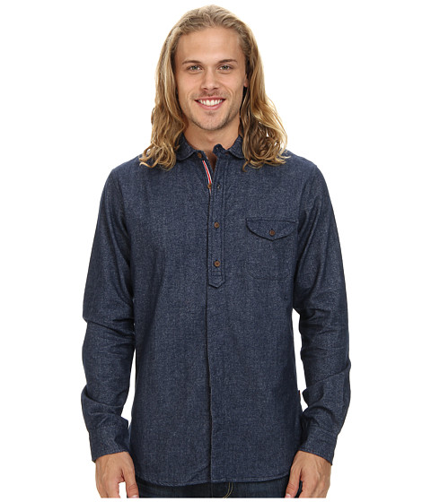 Fresh Brand - Fancy Collar Brushed Flannel Shirt (Navy) Men's Clothing
