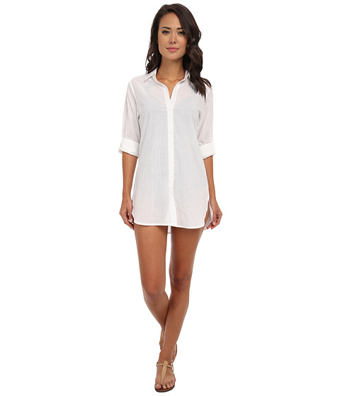 Tommy Bahama - Crinkle Cotton Boyfriend Shirt w/ Roll Up Sleeves Cover-Up (White) Women's Swimwear