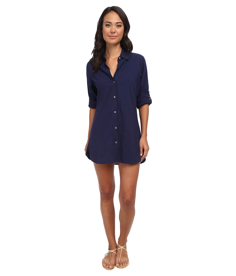 Tommy Bahama - Crinkle Cotton Boyfriend Shirt w/ Roll Up Sleeves Cover-Up (Mare) Women's Swimwear