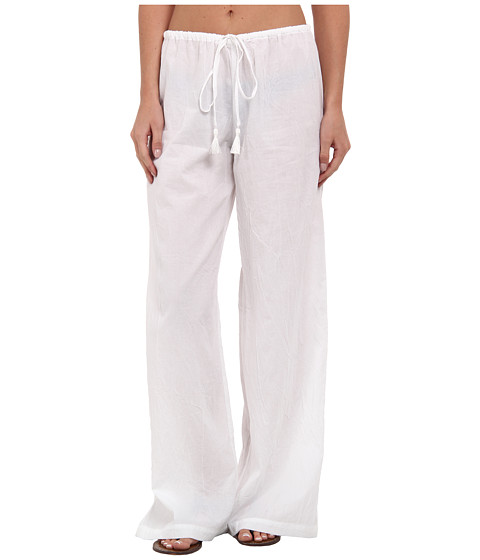 Tommy Bahama - Crinkle Cotton Drawstring Long Pants w/ Tassels Cover-Up (White) Women's Swimwear