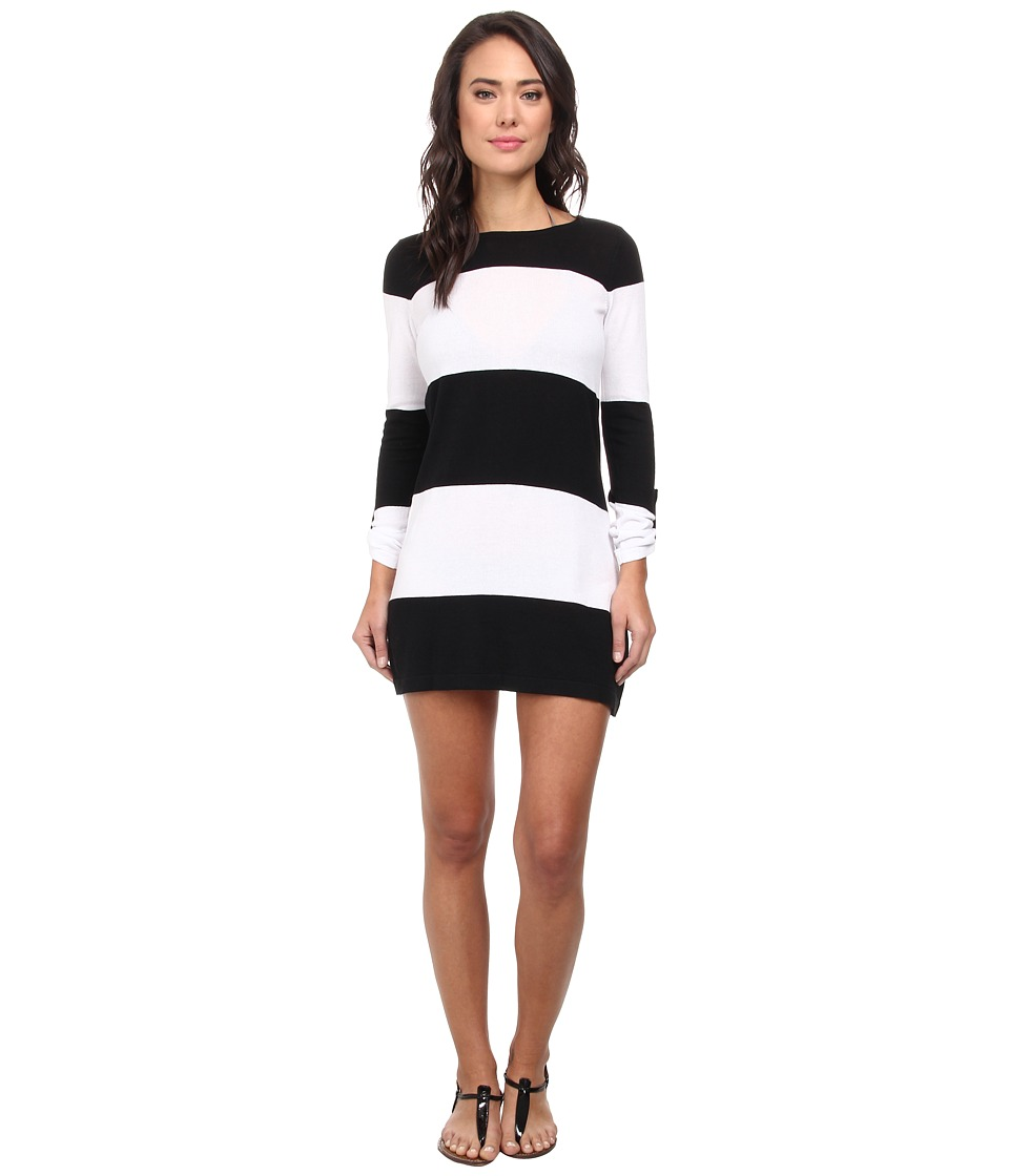 Tommy Bahama - Beach Sweater Bold Stripe w/ Roll Up Sleeve Cover-Up (Black/White) Women's Swimwear