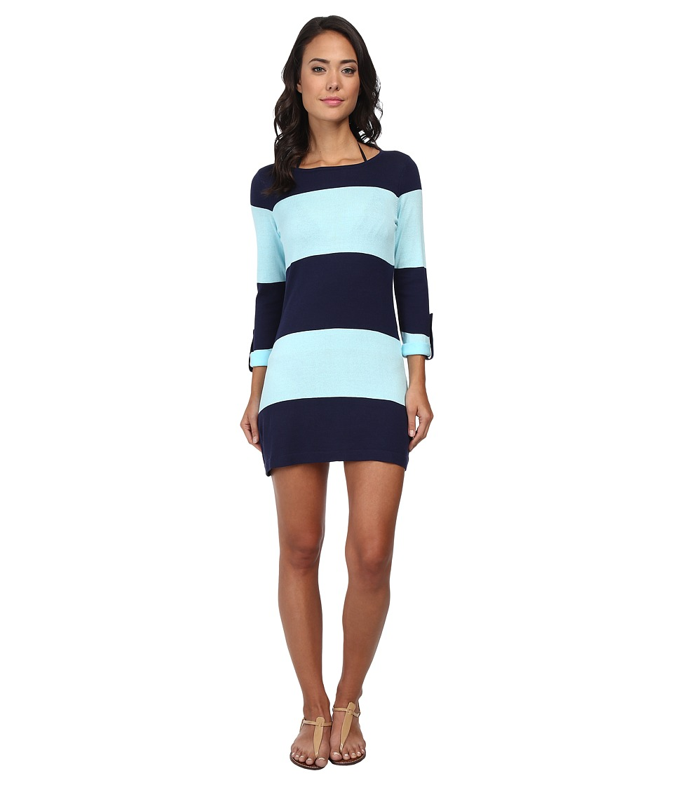 Tommy Bahama - Beach Sweater Bold Stripe w/ Roll Up Sleeve Cover-Up (Mare/Swimming Pool) Women's Swimwear