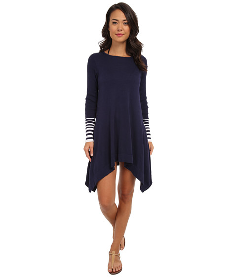 Tommy Bahama - Beach Sweater Crew Neck High-Low Cover-Up (Mare/Navy) Women's Swimwear