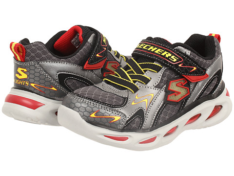 SKECHERS KIDS - Ipox-Rayz Lights 90386L (Little Kid) (Gunmetal/Red) Girl