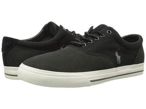 Polo Ralph Lauren - Vaughn Saddle (Black/Pumice Canvas) Men's Lace up casual Shoes