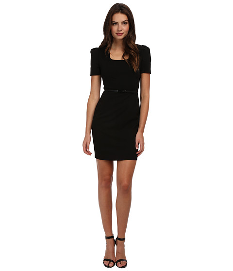 Marc New York by Andrew Marc - Scoop Neck S/S Belted Sheath Dress MD4X8398 (Black) Women's Dress