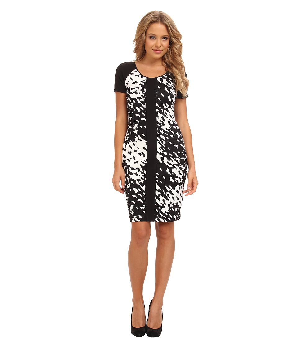Marc New York by Andrew Marc - Elbow Sleeve Scoop Neck Sheath Dress MD4C8372 (Black/White) Women's Dress