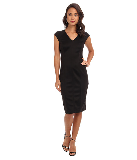 Marc New York by Andrew Marc - V-Neck S/S Inset Waist Mid Length Sheath Dress MD4N8387 (Black) Women's Dress