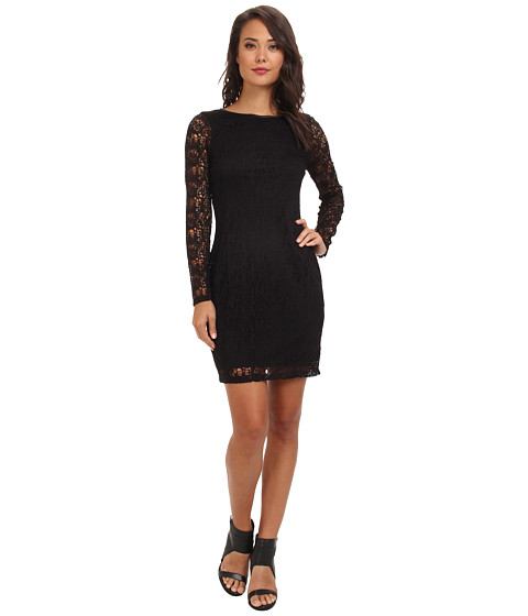 Marc New York by Andrew Marc - L/S Jewel Neck Mid Length Chemise Dress MD4L8407 (Black) Women