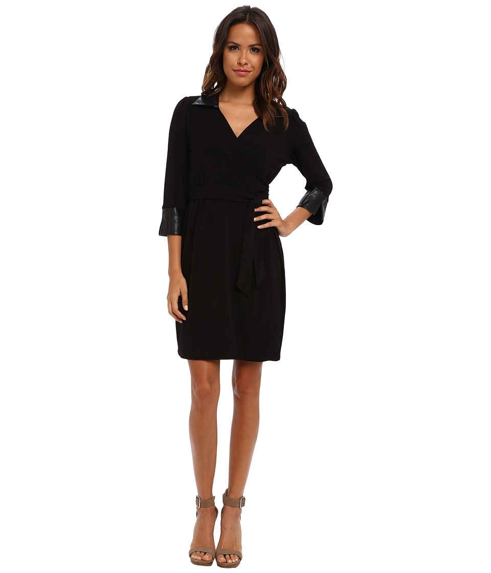 Marc New York by Andrew Marc - 3/4 Sleeve Tie Waist Wrap Sheath Dress MD4A8854 (Black) Women's Dress