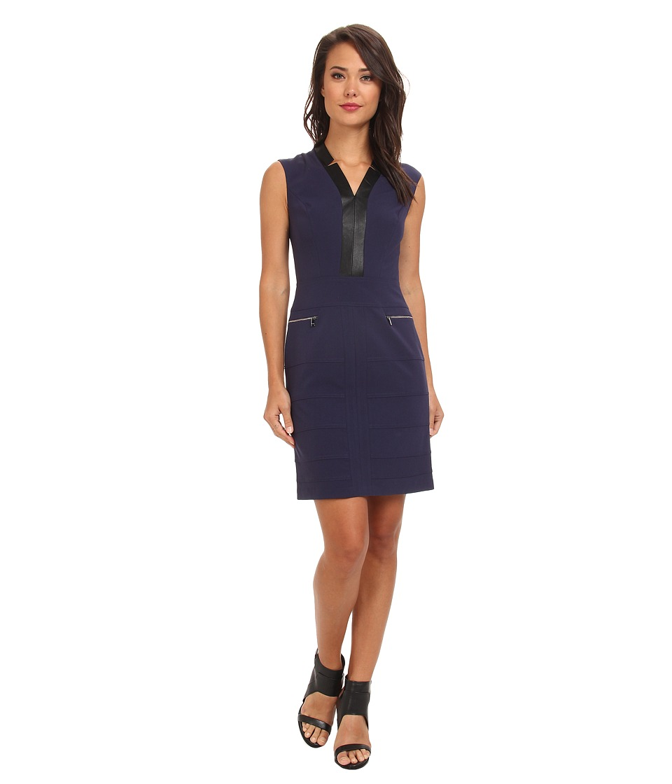 Marc New York by Andrew Marc - Deep V-Neck Cap Sleeve Zip Pocket Dress MD4X8395 (Blue Night) Women's Dress