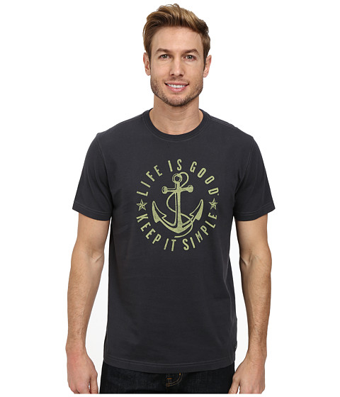 Life is good - Simple Anchor Crusher Tee (Night Black) Men