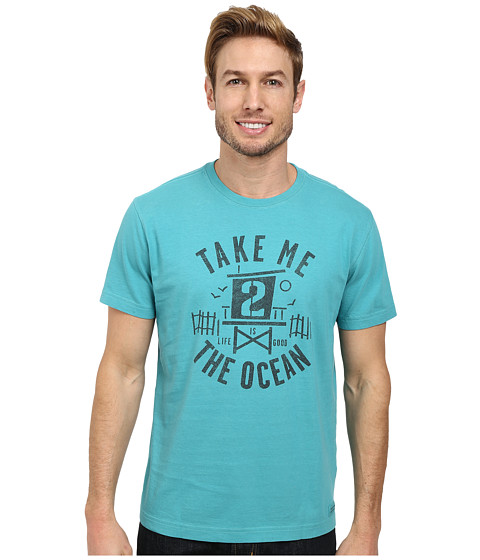 Life is good - To the Ocean Crusher Tee (Teal Blue) Men's T Shirt