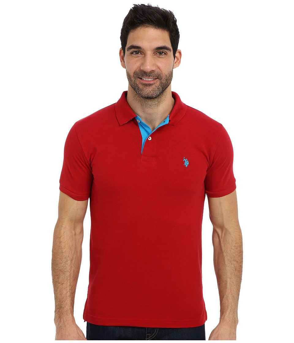 U.S. POLO ASSN. Slim Fit Solid Pique Polo w- Contrast Color Striped Under Collar Apple Cinnamon Mens Short Sleeve Pullover