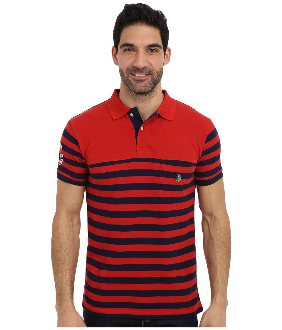 U.S. POLO ASSN. - Slim Fit Stripe Pique Pocket Polo w/ Solid Yoke (Vintage Red) Men's Short Sleeve Pullover