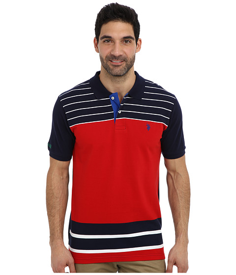U.S. POLO ASSN. - Engineered Stripe Polo (Engine Red) Men
