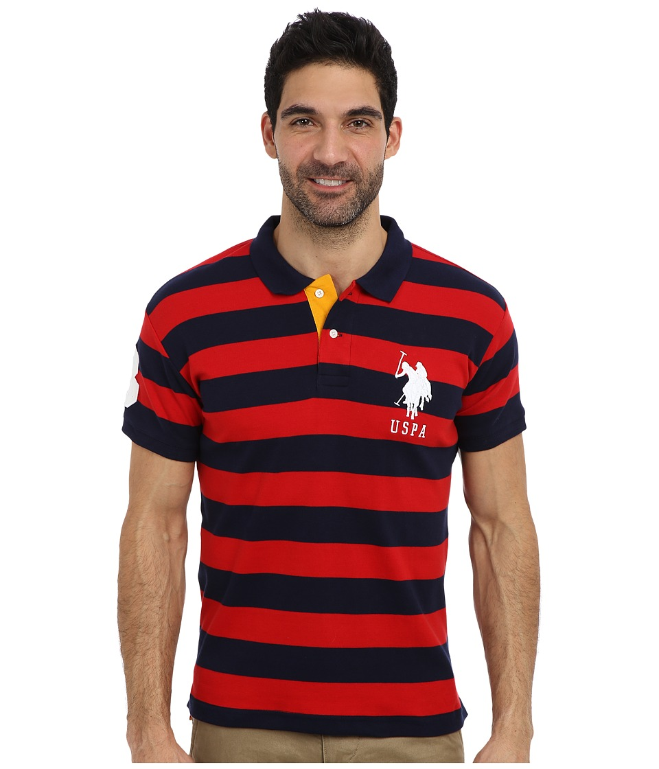 U.S. POLO ASSN. - Slim Fit Striped Cotton Interlock Polo (Engine Red/Classic Navy) Men's Short Sleeve Pullover