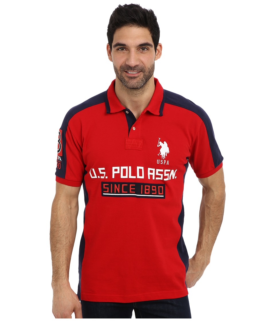 U.S. POLO ASSN. - Short Sleeve Multi Logo Pique Polo (Engine Red) Men's Short Sleeve Pullover