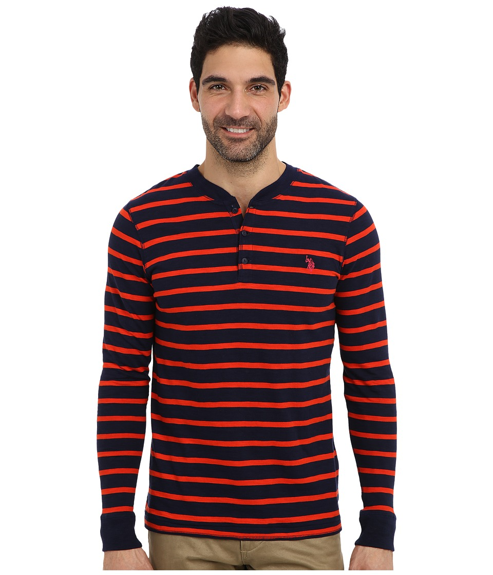 U.S. POLO ASSN. - Slim Fit Long Sleeve Slub Henley w/ Stripes (Harvest Orange) Men's Long Sleeve Pullover