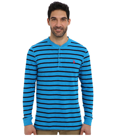 U.S. POLO ASSN. - Slim Fit Long Sleeve Slub Henley w/ Stripes (Teal Blue) Men