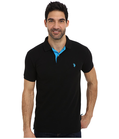 U.S. POLO ASSN. - Slim Fit Solid Pique Polo w/ Contrast Color Striped Under Collar (Black/Teal Blue) Men's Short Sleeve Pullover