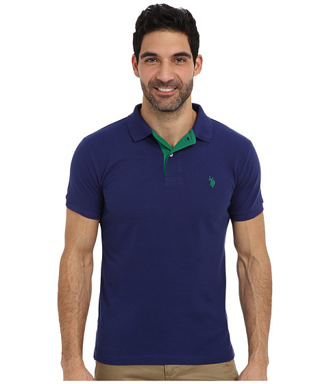 U.S. POLO ASSN. - Slim Fit Solid Pique Polo w/ Contrast Color Striped Under Collar (Dodger Blue) Men