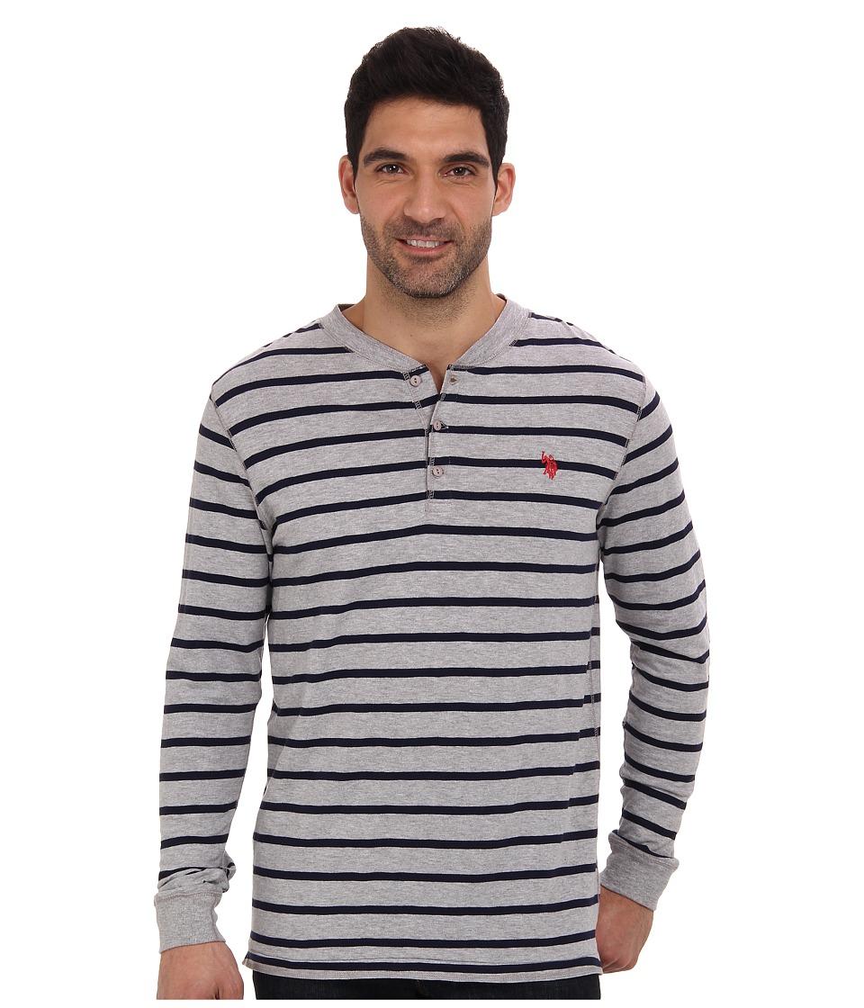 U.S. POLO ASSN. - Slim Fit Long Sleeve Slub Henley w/ Stripes (Heather Gray) Men's Long Sleeve Pullover
