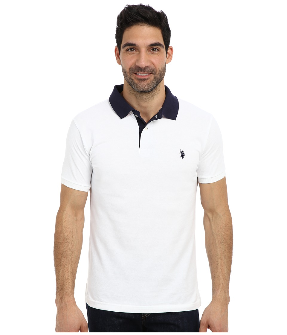 U.S. POLO ASSN. - Slim Fit Solid Pique Polo w/ Contrast Color Striped Under Collar (White) Men's Short Sleeve Pullover