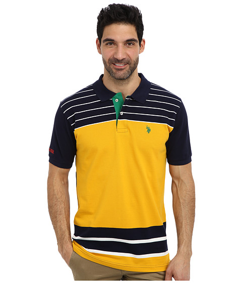 U.S. POLO ASSN. - Engineered Stripe Polo (Marigold Yellow) Men