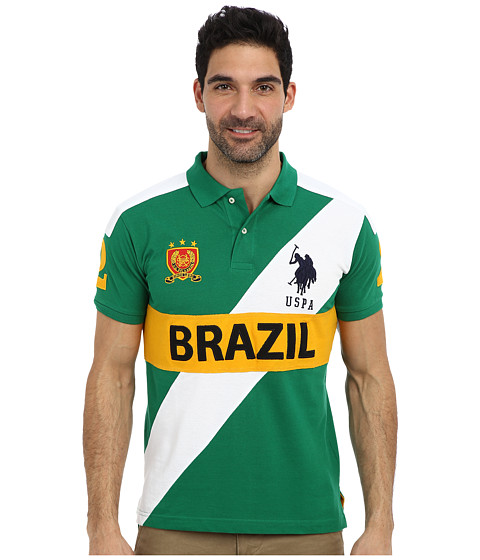 U.S. POLO ASSN. - Brazil Slim Fit Pique Polo (Hiking Green) Men