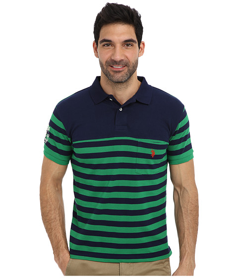 U.S. POLO ASSN. - Slim Fit Stripe Pique Pocket Polo w/ Solid Yoke (Vintage Navy) Men's Short Sleeve Pullover