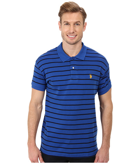 U.S. POLO ASSN. - Slim Fit Striped Cotton Interlock Polo (Peacock Blue) Men's Short Sleeve Pullover