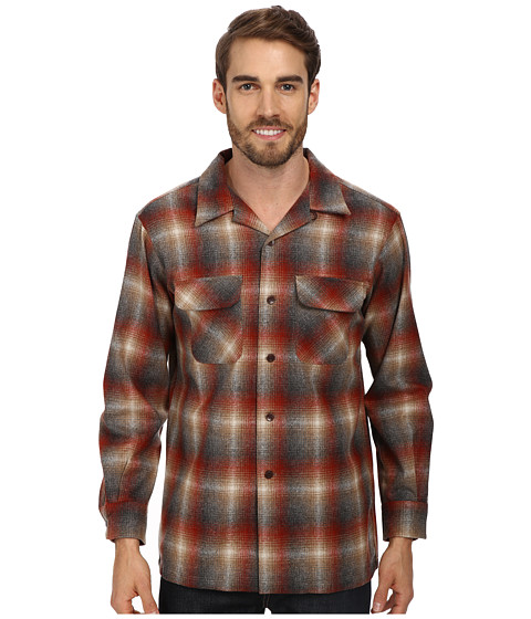 Pendleton - L/S Board Shirt (Red/Tan/Charcoal Ombre) Men's Long Sleeve Button Up