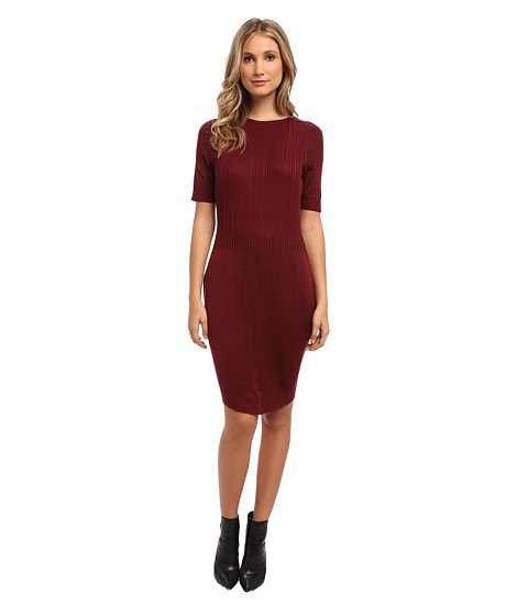 Marc New York by Andrew Marc - Jewel Neck Elbow Sleeve Sweater Dress MD4W9452 (Maroon) Women