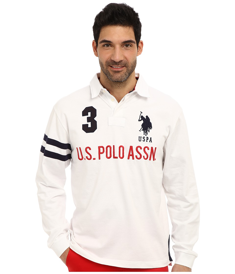 U.S. POLO ASSN. - Long Sleeve Heavy Weight Cotton Jersey Rugby Polo (White) Men's Long Sleeve Pullover