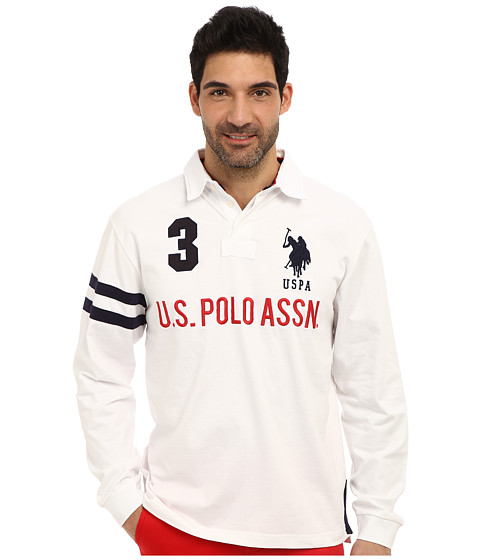 U.S. POLO ASSN. - Long Sleeve Heavy Weight Cotton Jersey Rugby Polo (White) Men