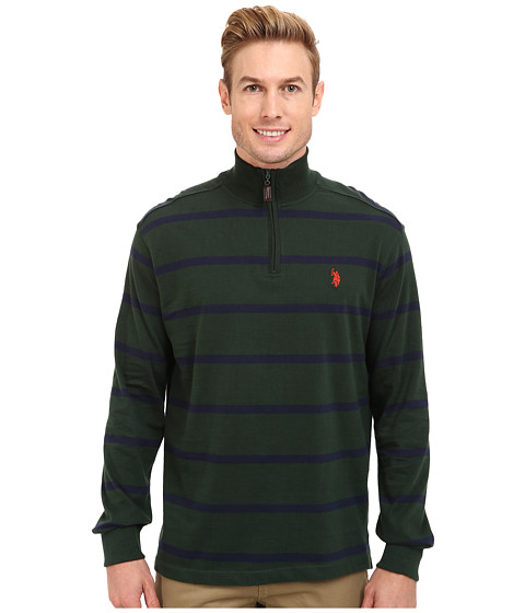 U.S. POLO ASSN. - Long Sleeve Striped Sueded Jersey 1/4 Zip Mock Neck Pullover (Park Green) Men